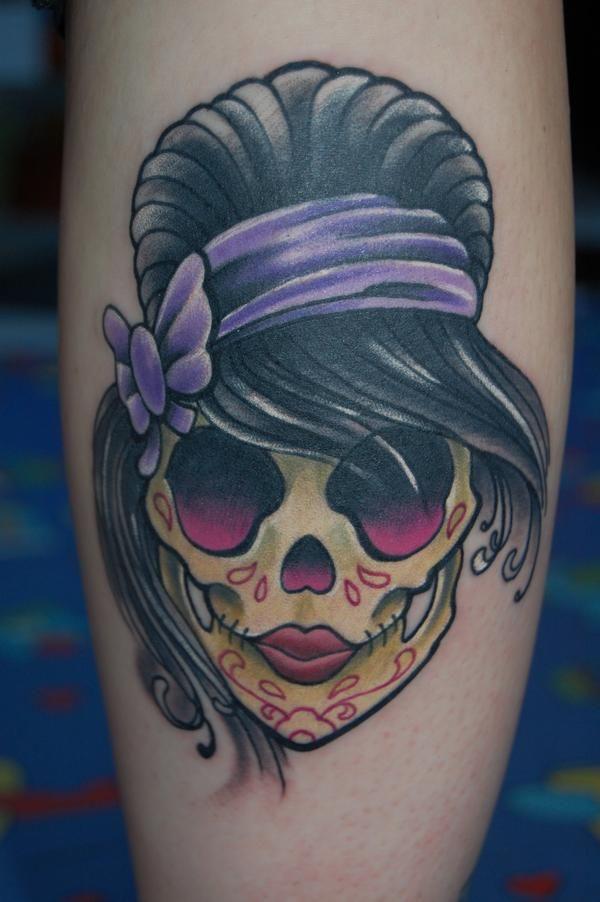 Girly Sugar Skull Done In Black Pearl Tattoo Studio La Roche Sur Yon Skull Tattoo Design Sugar Skull Tattoos Girly Tattoos