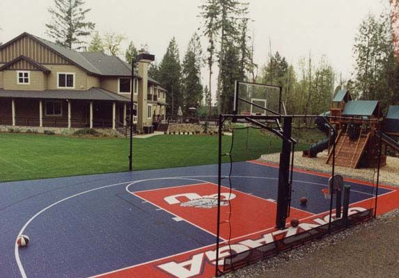 Backyard basketball court backyard basketball court 14 for Sports courts for backyards