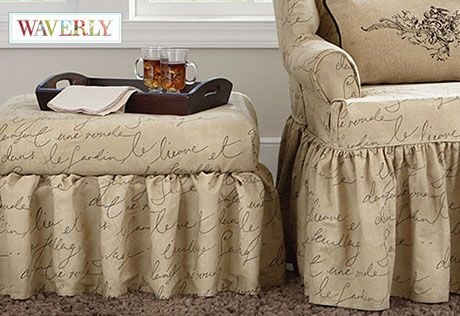 Sure Fit Pen Pal By Waverly Ottoman Slipcover Ottoman Slipcover Ottoman Cover Ottoman