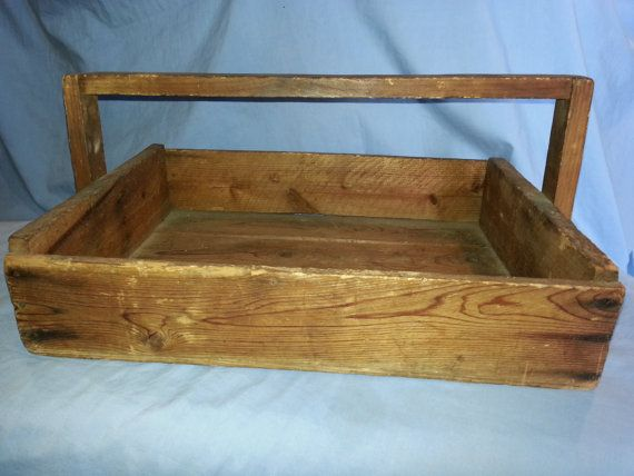 Primitive Wooden Garden Carry All Box 9 X 14 1 4 X 19 With Images