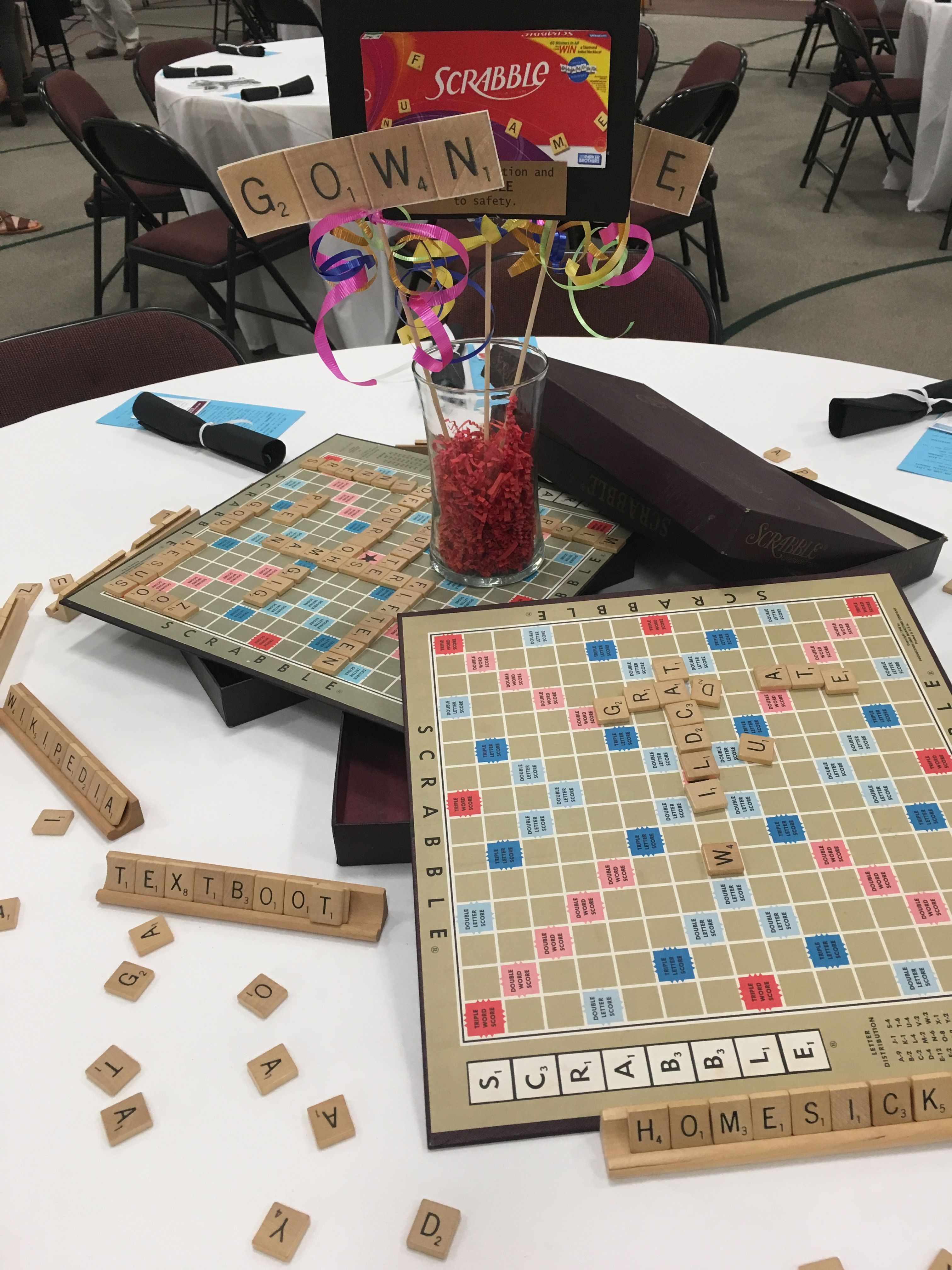 Boardgame Theme Graduation Party Scrabble Game Table Centerpiece Board Game Themes Game Night Decorations Graduation Table Centerpieces
