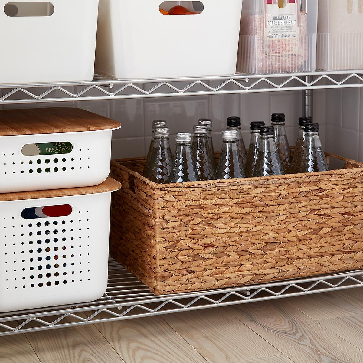 White Nordic Storage Baskets With Handles Storage Baskets With Lids Storage Baskets Storage Bins