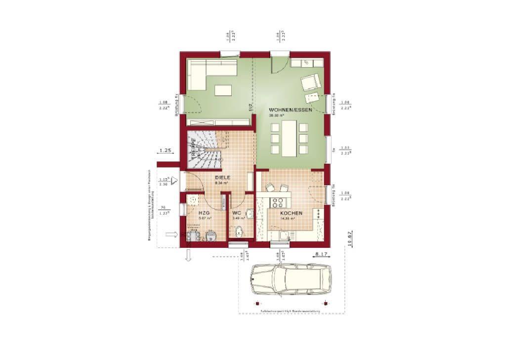 Moderner Einfamilienhaus Grundriss mit offener Wohnküche - offene kuche wohnzimmer grundriss