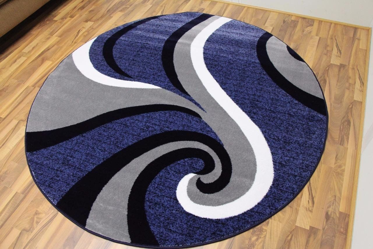 Amazon Com 0327 Blue White 6 Foot Round Area Rug Abstract Carpet
