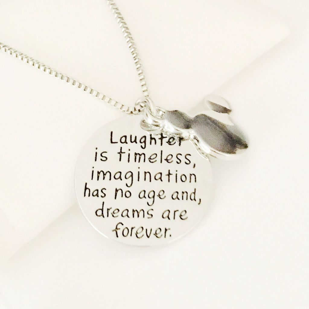 "Inspirational Phrase ""Laughter Is Timeless..."" Charm Pendant Necklace"