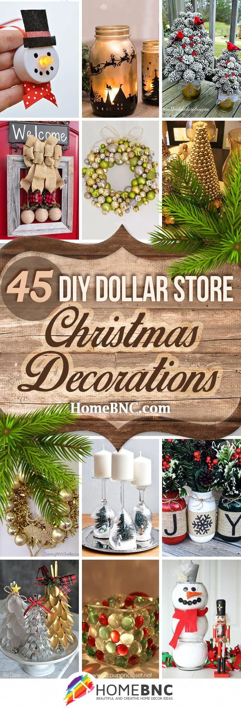 45 Best DIY Dollar Store Christmas Decor Craft Ideas for