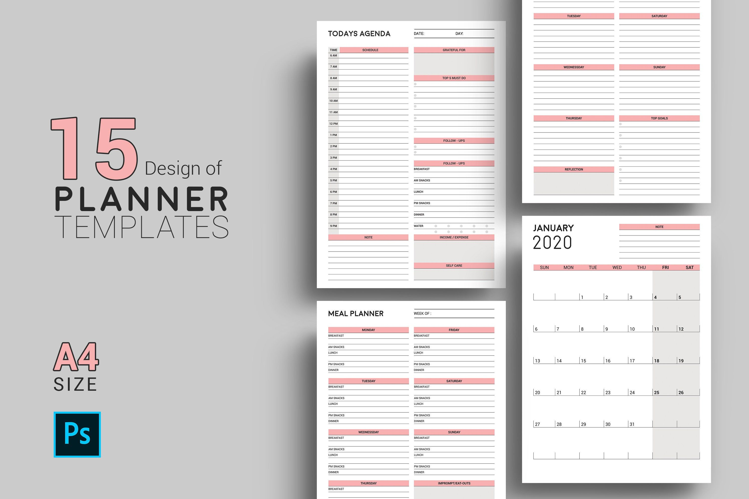 Planner Template Daily Planner Monthly Planner Meal Planner Work Agenda Photoshop Template Instant Download Weekly Planner Template Planner Template Daily Weekly Planner