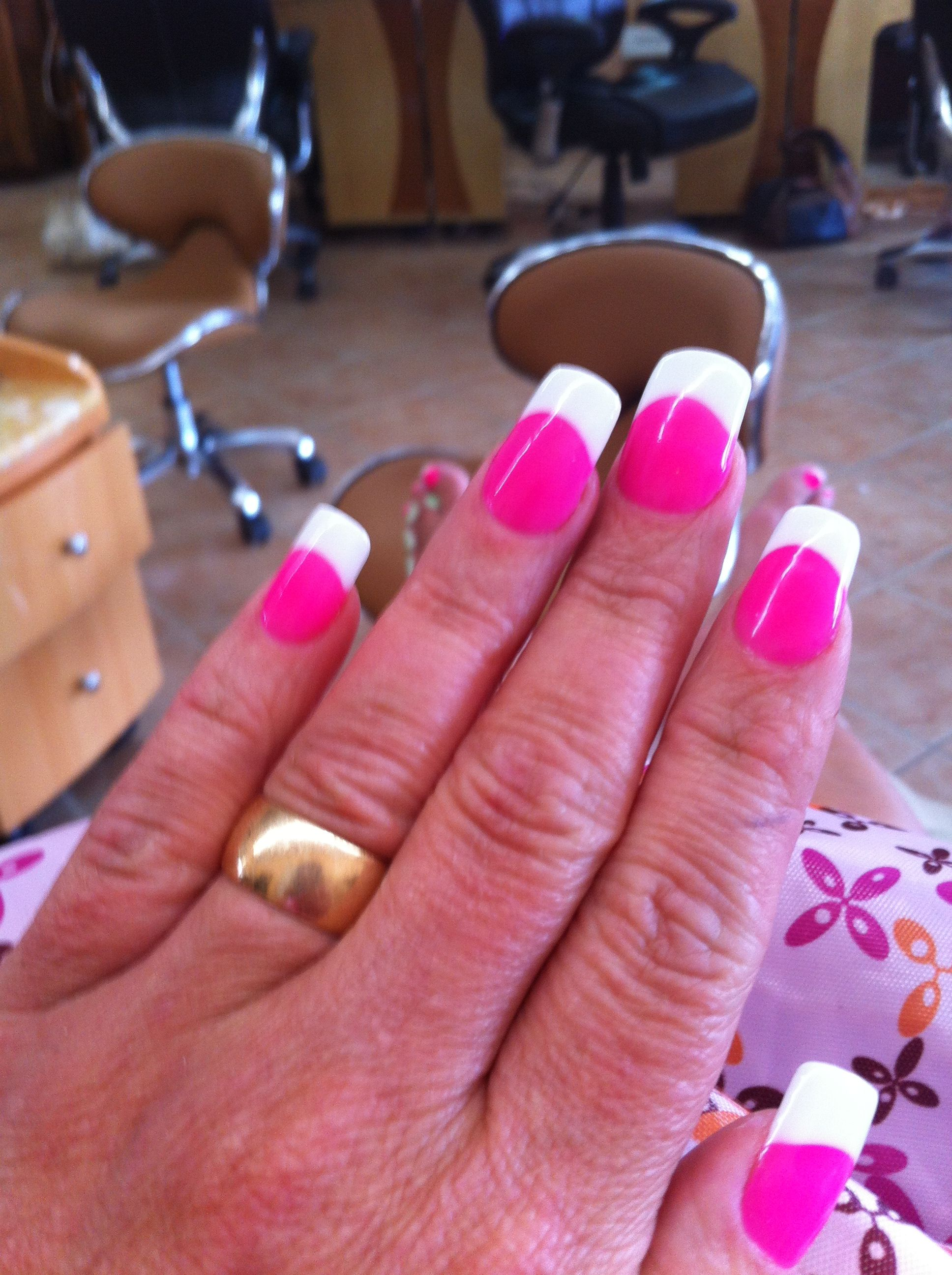 hot pink nails with white tips | hot pink nails with white tips