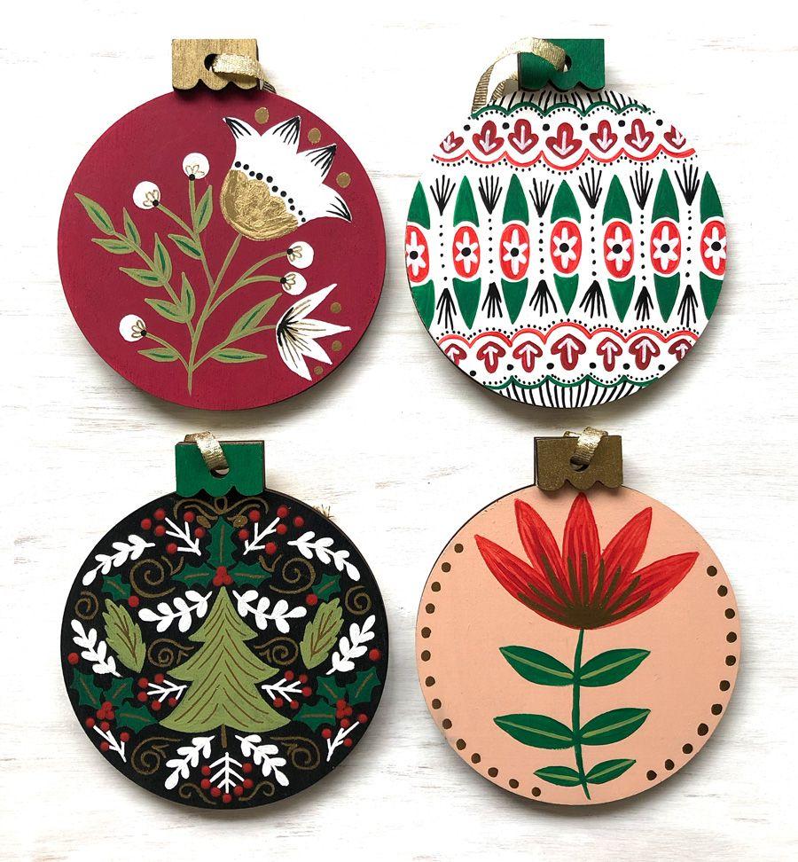 Portfolio On The Mark Designs Christmas Ornaments Wood Christmas Ornaments Hand Painted Ornaments