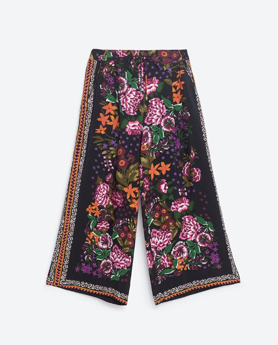 Image 8 of PRINTED LOOSE-FIT TROUSERS from Zara