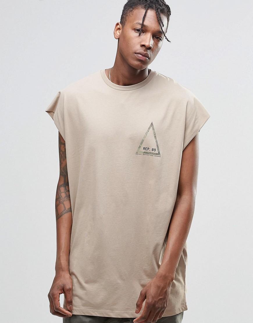 5502f8e9 ASOS   ASOS Super Oversized Sleeveless T-Shirt With Camo Triangle Back Print  at ASOS