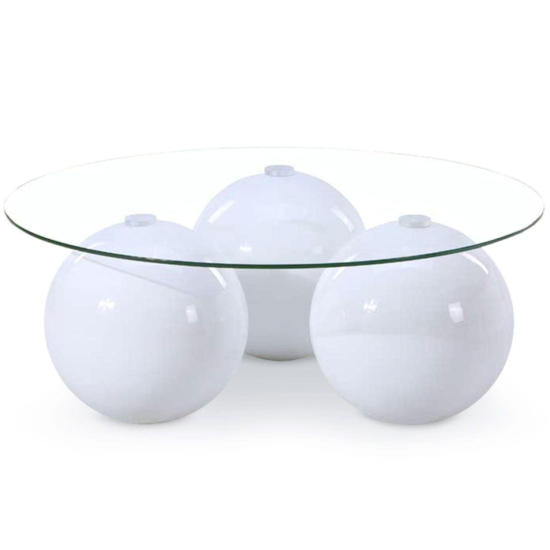 Table Basse Ronde Verre Et Laquee Blanc Trio Lestendances Fr En 2020 Table Basse Ronde Table Basse Ronde En Verre Table Basse