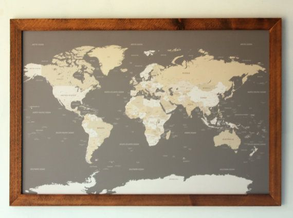 World push pin travel map in wood frame 24x36 anniversary gift push pin travel map world map world map wall art world map push pin pin board travel map travel gifts gift for men map art gumiabroncs Image collections