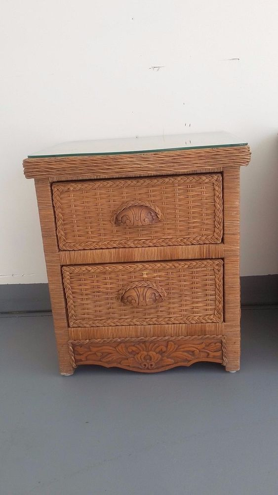 Wicker Rattan Nightstand Cottage Shabby Chic Bed Table Jamaica Imports Pier One Pieroneimports Cottagecoastal