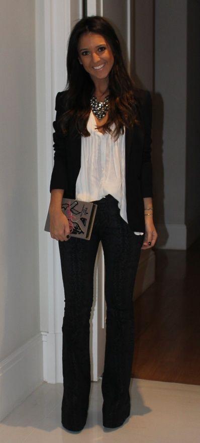 545. Dressy flared pants, white flowy top, cut black blazer, statement necklace - shirts, lace, long, tee, denim, couple shirt *ad