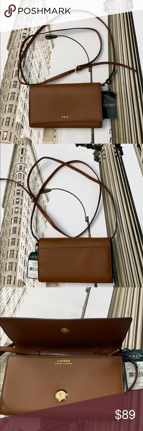 9c2ffc392d LAUREN RALPH LAUREN DOWELL Leather Crossbody Bag Leather Foldover flap with  snap closure Removable shoulder strap