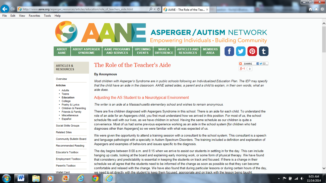 http://www.aane.org/asperger_resources/articles/education/role_of_teachers_aide.html | Asperger's Aide | What Having an Aide Means to a Student