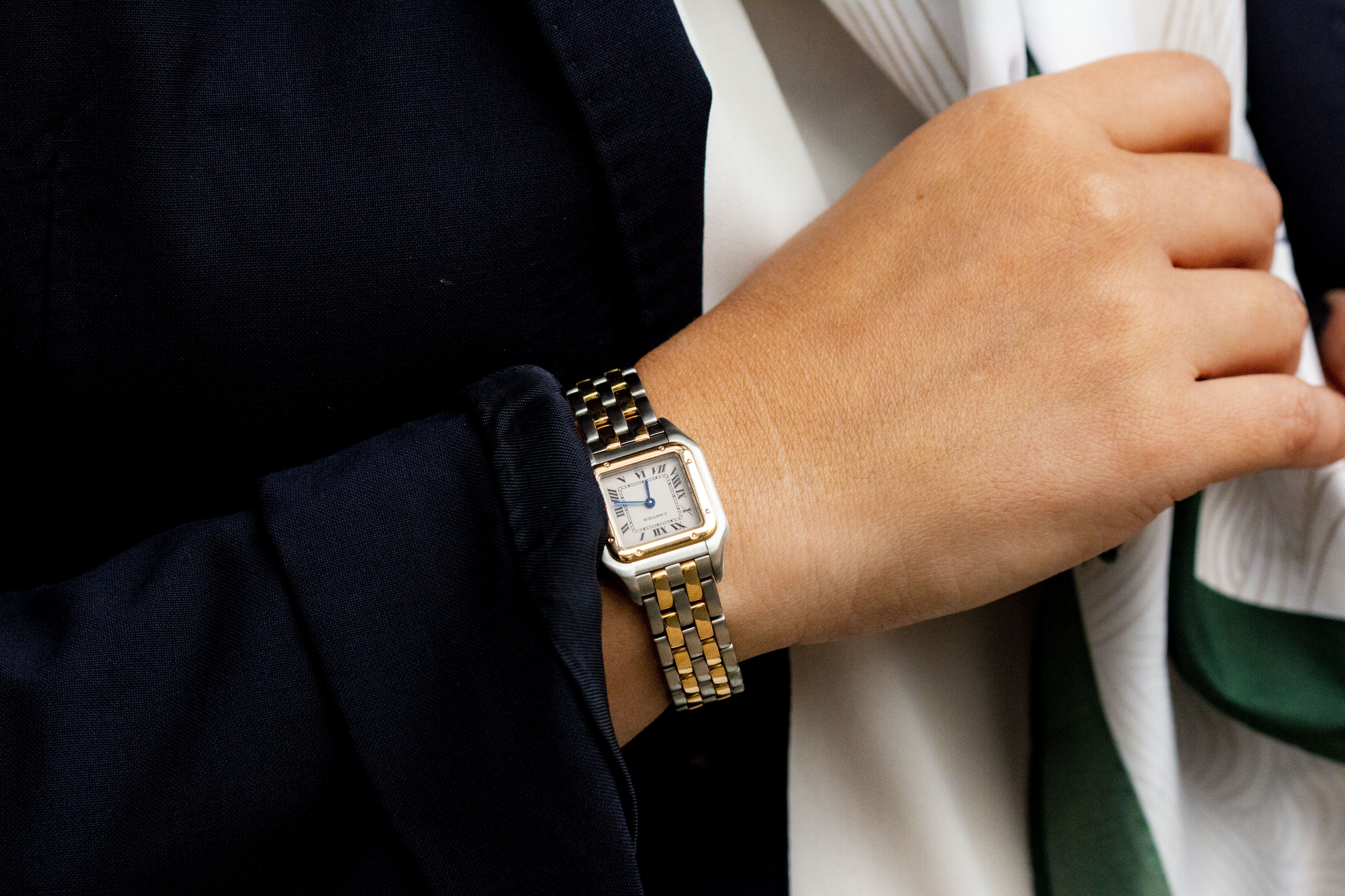 Cartier Panthere Ladies 2 Tone 2 Row Steel Gold Watch W25029b6 Cartier Watches Women Gold Watch Cartier