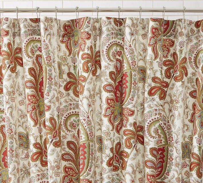 Charlie Paisley Organic Shower Curtain Pottery Barn Shower Curtain Bathroom Decor Accessories Organic Shower