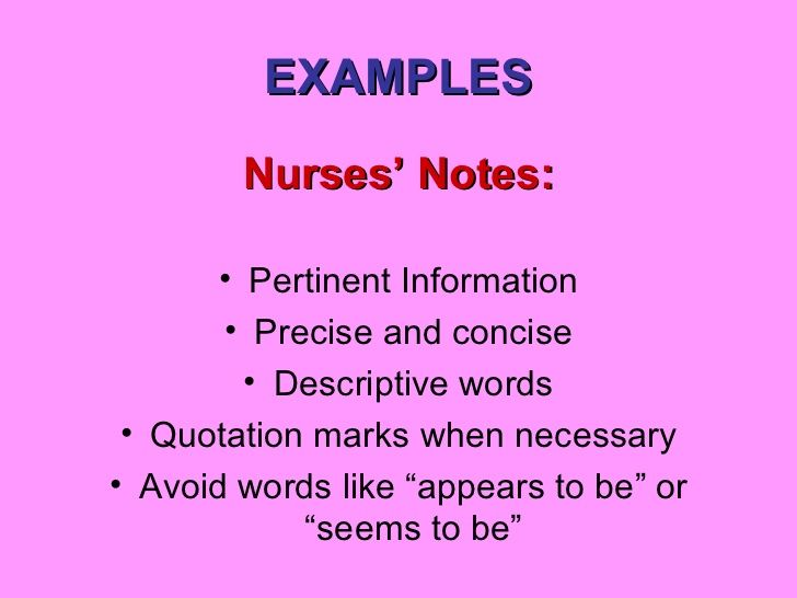 EXAMPLES Nurses' Notes: Pertinent Information … | Nursing ...