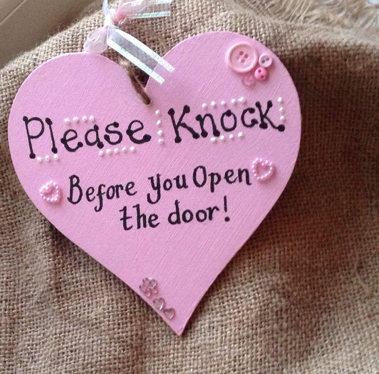 Please Knock Before You Open The Door Pink Heart Girls Bedroom Sign