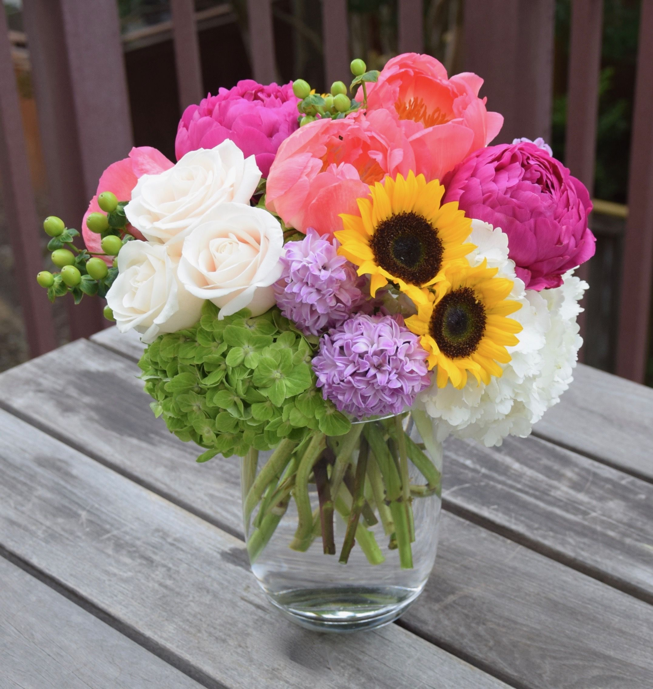 Colorful Spring Flower Arrangement With Peonies, Hyacinths, Hydrangeas, Sunflowers, Roses