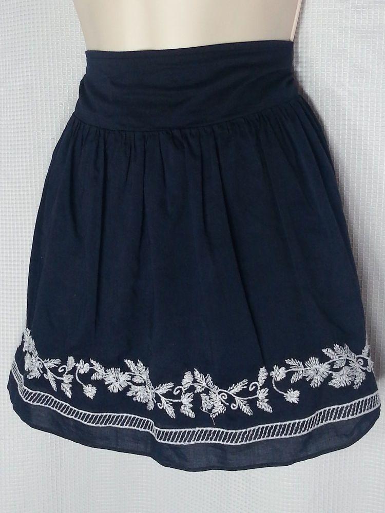 Aeropostale Skirt Blue XL Boho Embroidered Navy White Lined Full Mini Cotton #Aeropostale #Mini