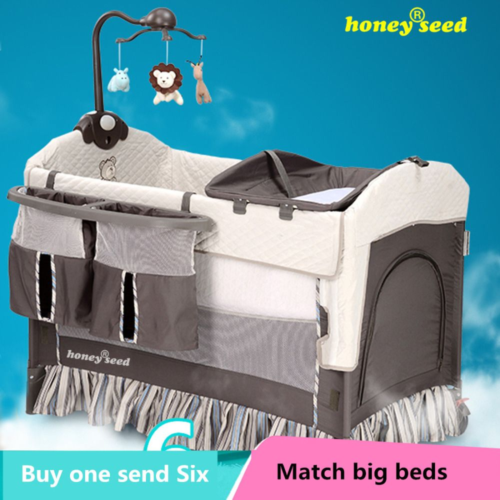 $312.50 (Buy here: http://appdeal.ru/e99o ) Honeyseed fashion multifunctional baby bed portable game bed bb child bed folding baby bed belt wheel for just $312.50