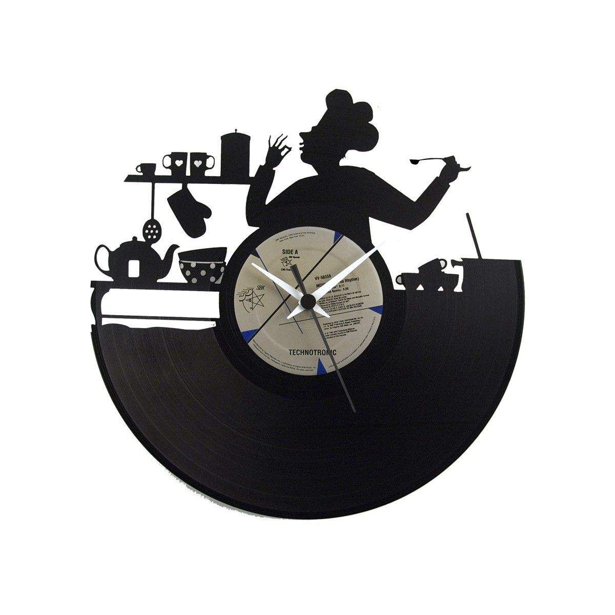 Clock made from a simple 33 rpm carved. Perfect for hanging on a white wall in the kitchen.