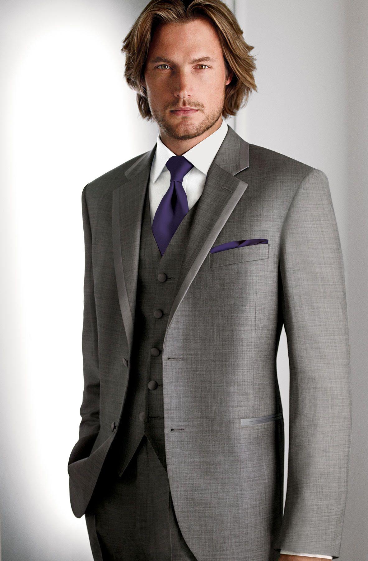 groomsmen (freeman) gray suit, purple tie and pocket square. gray ...