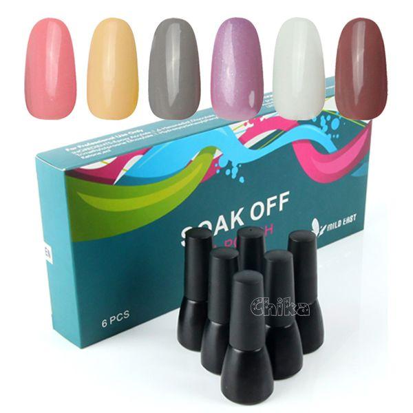 Pro 6pcs Nail Art Tips Soak Off UV Gel Polish Set UV LED Lamp Glitter Kit Color