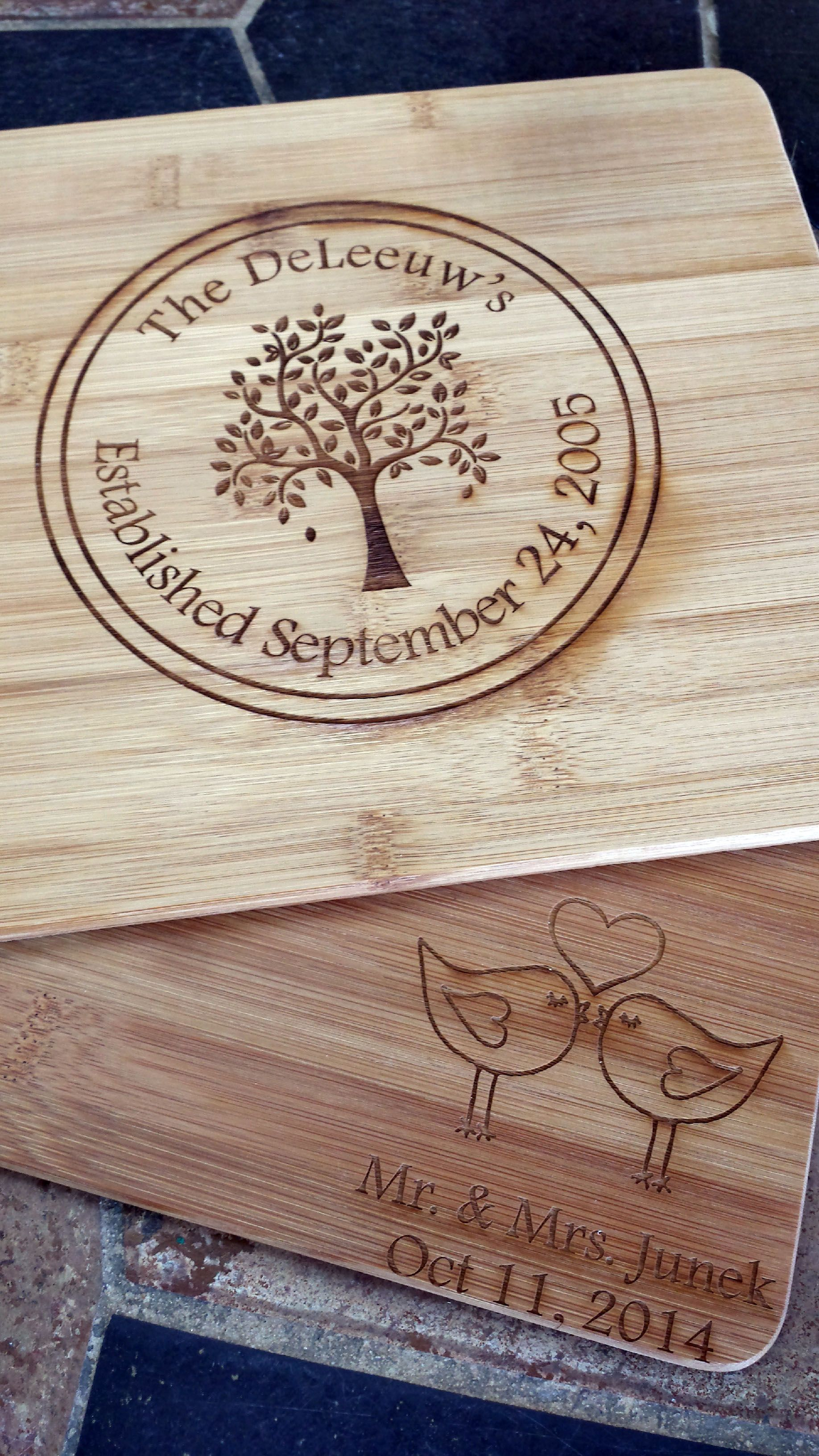 Personalized cutting boards make a wonderfully unique wedding gift!