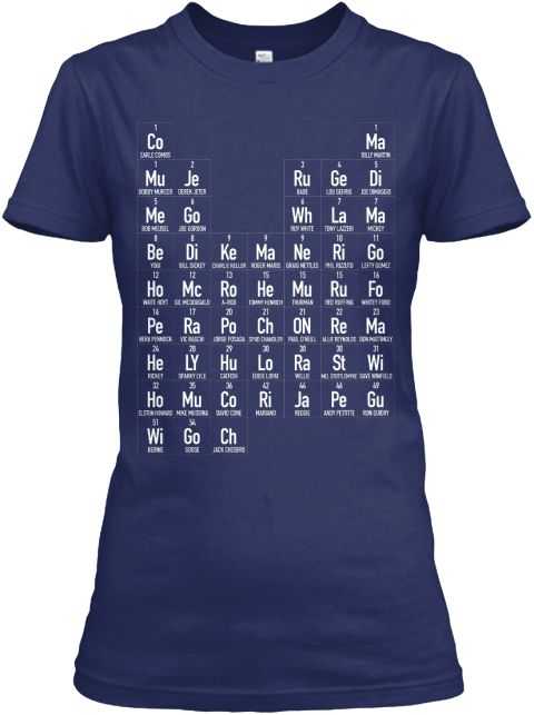 b4604d7ec1cd55 The Periodic Table of Yankees T-Shirt. The 50 Greatest Yankees, from Jack  Chesbro to Derek Jeter. Printed on a navy, Next-Level Women's Boyfriend t- shirt.