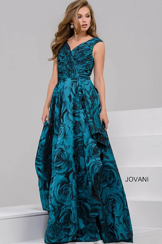 2f35fb8e18842b Beautiful floor length a-line black and teal floral print evening gown  features sleeveless ruched bodice with v-neckline.