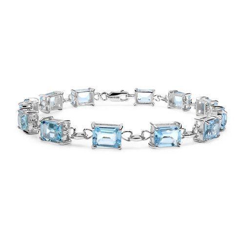21.60 Carat Genuine Blue Topaz .925 Sterling Silver Bracelet