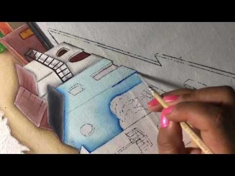 Pintura En Tela Casitas # 5 Con Cony - YouTube
