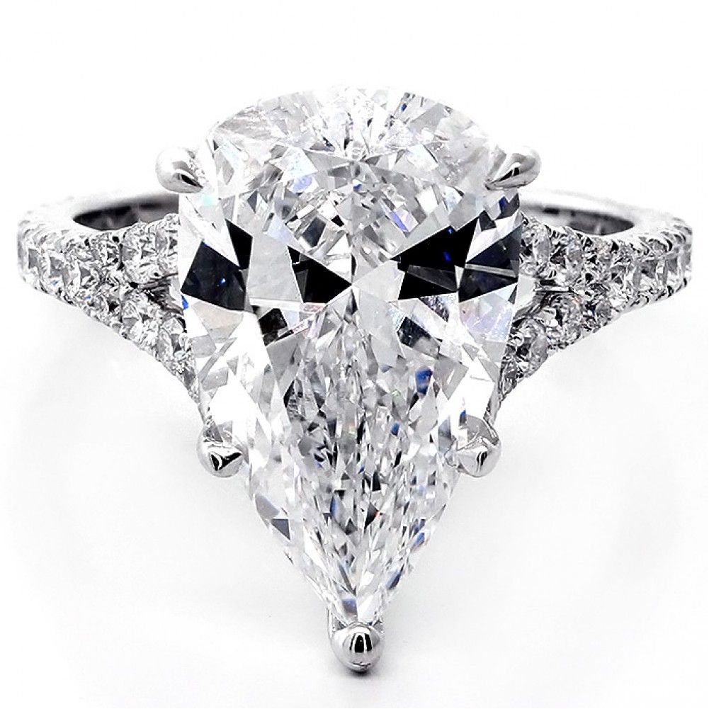 6.83 Cts Pear Shape Diamond Engagement Ring set in 18K