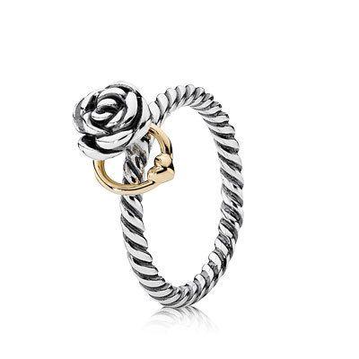 13e60fbe3e3a1 PANDORA   Anel de Prata e Ouro Rosa do Amor   joias   Pandora, Joyas ...