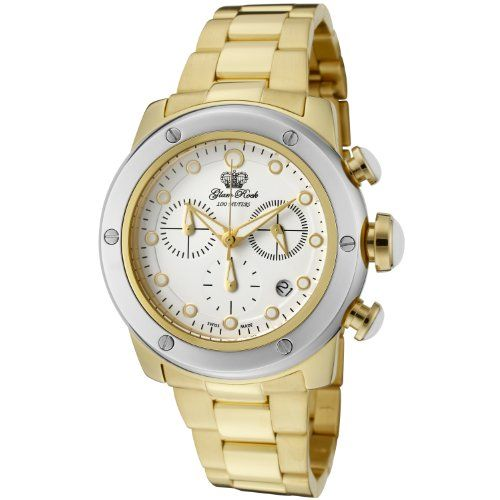 Glam Rock Women's GLAMROCK-GR50132SV Aqua Rock Chronograph White Dial Gold Ion-Plated Stainless Steel Watch