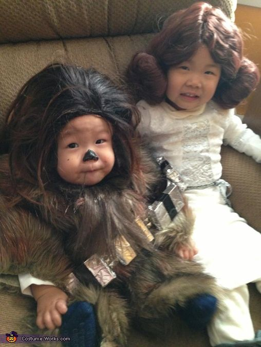 Baby Chewbacca and Little Leia - Homemade costumes for babies