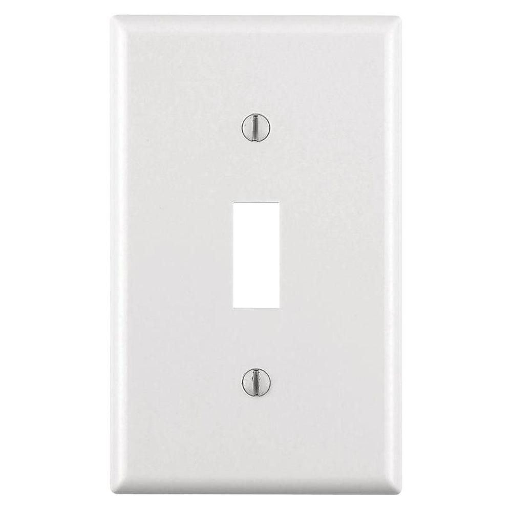 Leviton 1 Gang Toggle Wall Plate White R52 88001 00w With Images Plates On Wall Leviton Home Depot