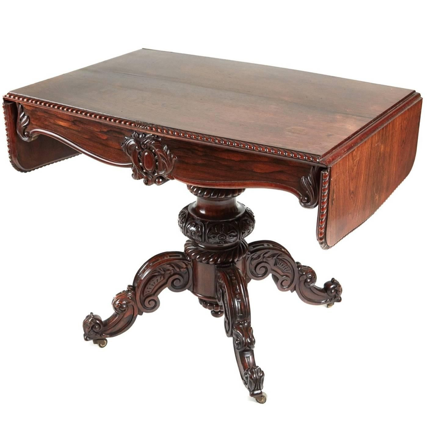 Outstanding Victorian Carved Rosewood Sofa Table