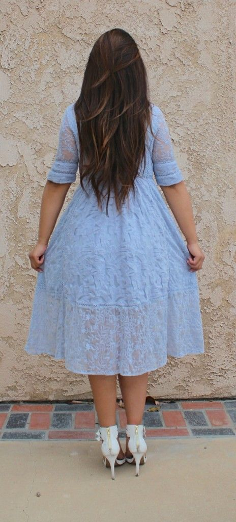 Blue Lace Midi Dress - Tia Alese Wong