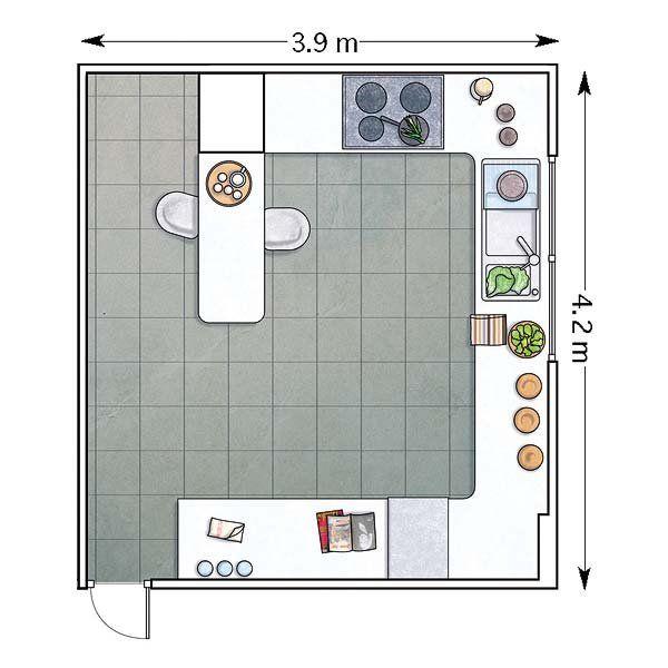 Doce cocinas con barra y sus planos cocinas con barra for Dimensiones muebles de cocina