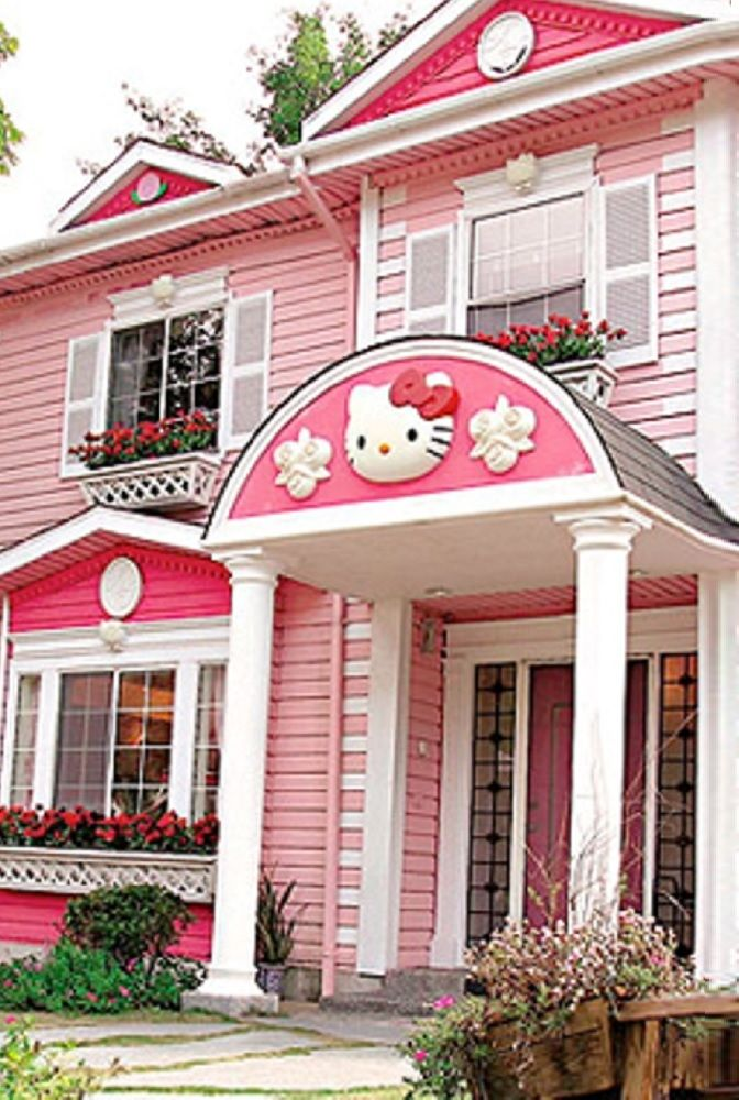 Pink Dark Pink And Bright White Exterior House Paint Color