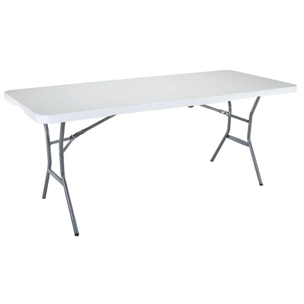 Lifetime 72 In White Plastic Portable Fold In Half Folding Banquet Table 25011 The Home Depot Fold In Half Table White Granite Half Table