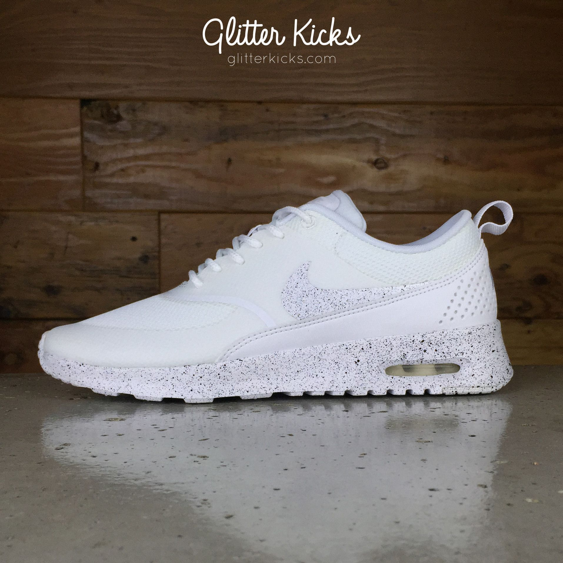 newest aa61c 523e3 Nike Air Max Thea Running Shoes By Glitter Kicks - White White Black Paint  Speckle