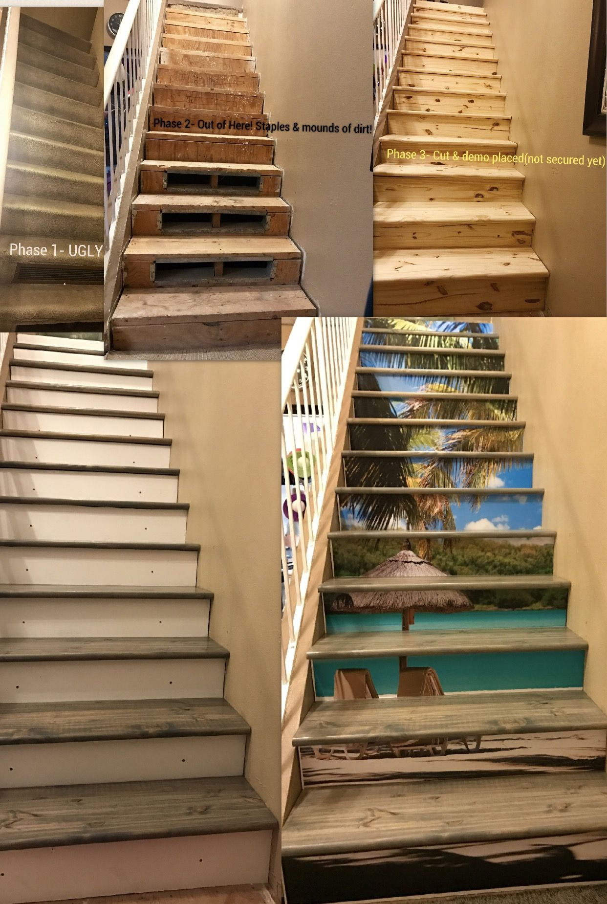 4 2 17 Hawaiian Beach Theme Staircase : Riser Art From Etsy   Risers And  Stairs From Lowes, And Minwax Classic Grey Stain And 3 Coats Of  Polyurethane I Love ...