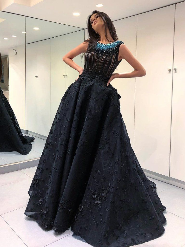 Aline scoop long prom dress with lace beading black modest long