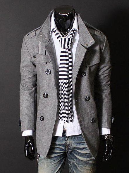 Korea Stylish Double-breasted Men Slim Fit Long Coat  $32.05